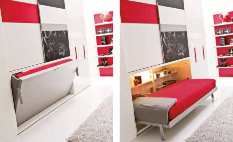 Camera trasformabile Clei con due mobili letto singoli