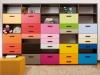 Libreria con sistema a spalla cassetti e cestoni