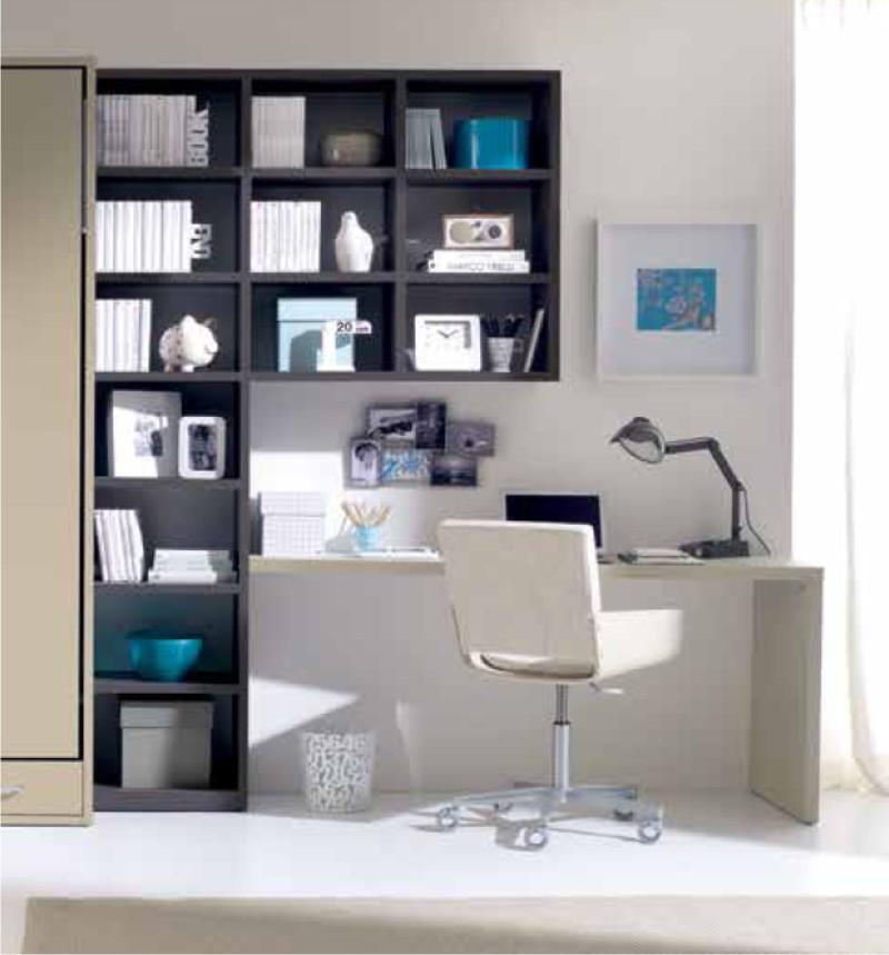 scrivania lineare piccola con libreria