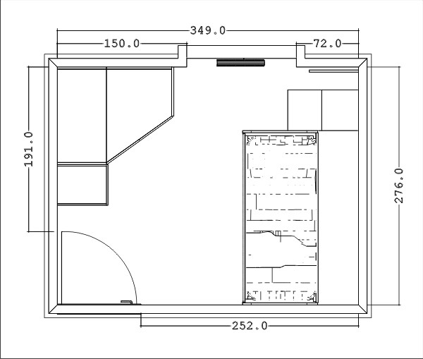 Arredare una cameretta doppia progetti 3d realizzati for Piantina cameretta