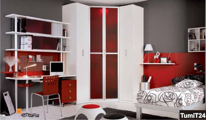 Una camera bianca e rossa for Accessori camera da letto ragazza
