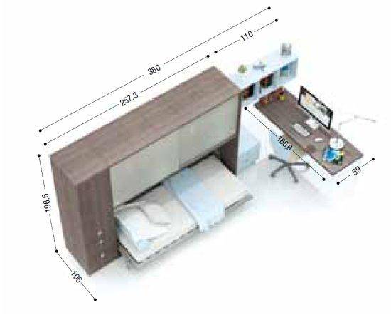 Ponte con letto a ribalta orizzontale
