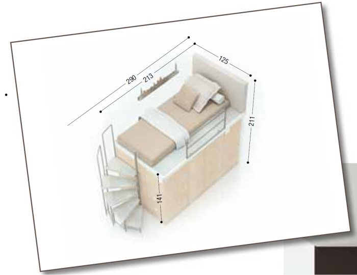 Dimensioni letto singolo herdla struttura letto con for Letto a ponte misure