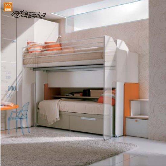 Camerette con castello scorrevole e cabina armadio