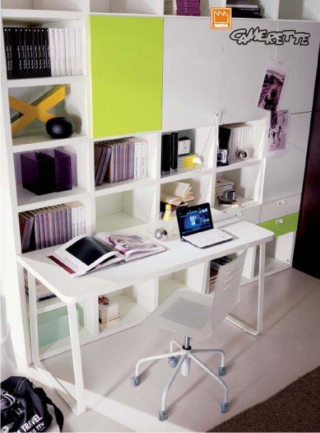 Camera studio arredamento arredato per dietista psicologa - Angolo studio in camera da letto ...