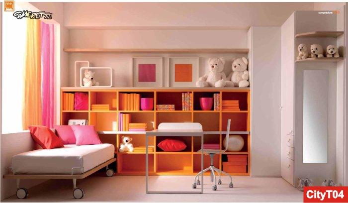 ... con libreria, armadio ad angolo, scrivania scorrevole e letto su ruote