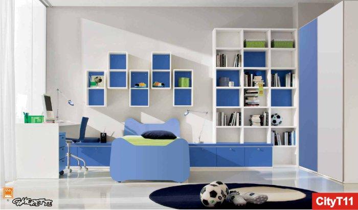 Cameretta per ragazzi doimo bianca e avio for Design apartment 2 camere