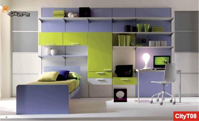 parete attrezzata ta-tac, letto e scrivania - Parete Attrezzata Camera Da Letto