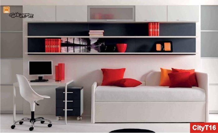 Camera da letto per ragazzi con letto imbottito