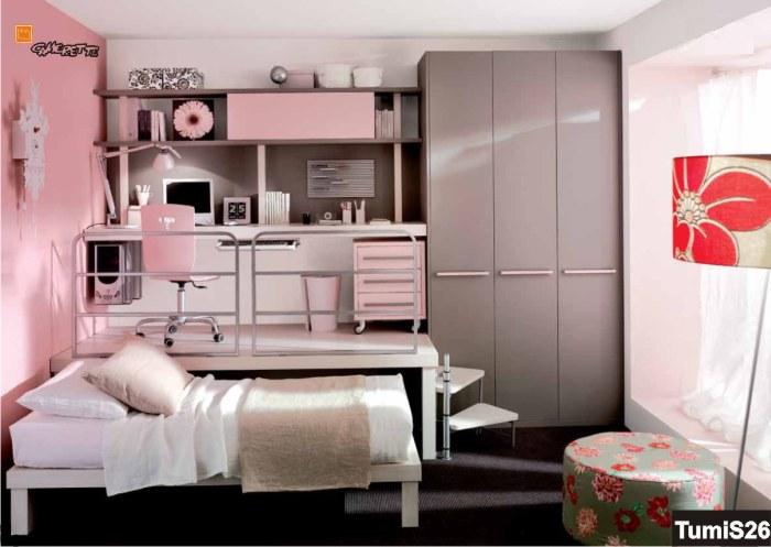 Cameretta singola per bambina bianca e rosa