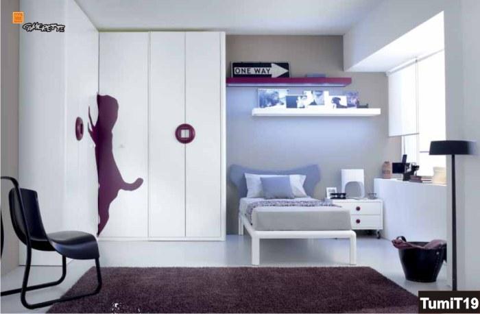 Cameretta singola con armadio ad angolo e letto round