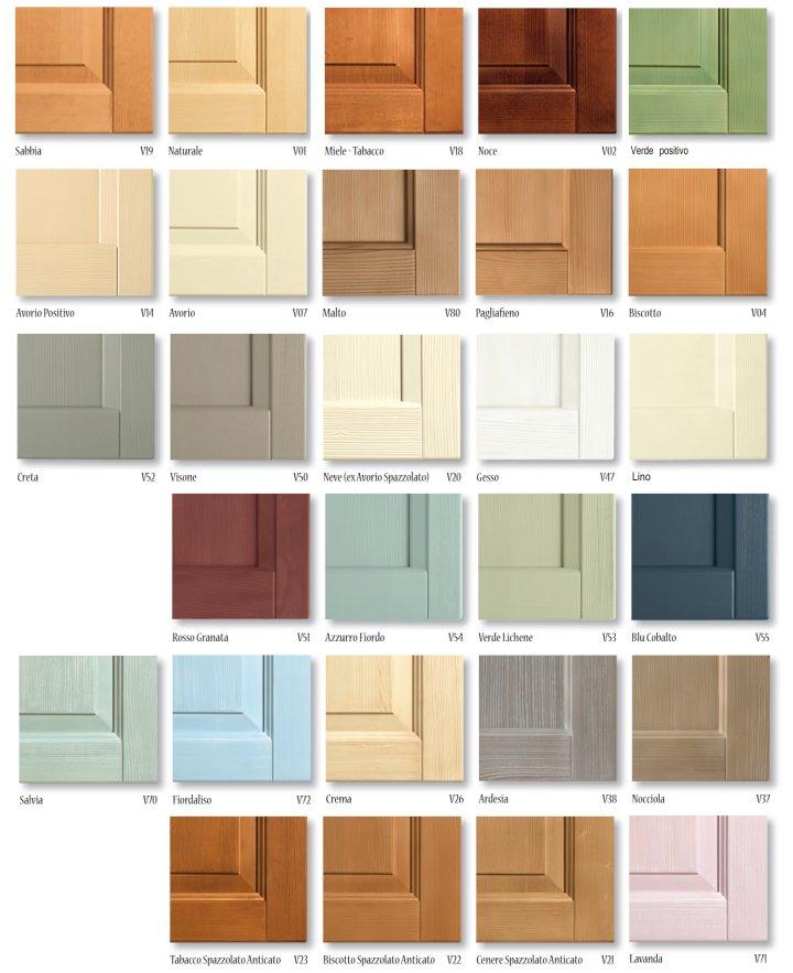 Scandola Mobili: colori e finiture del legno massello
