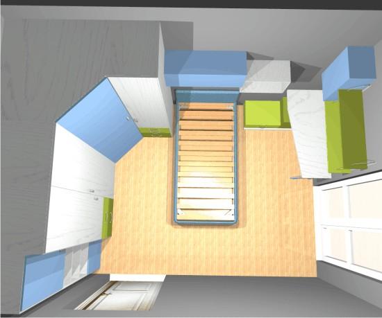 La piccola cameretta singola un progetto - Camera da letto piccola soluzioni ...