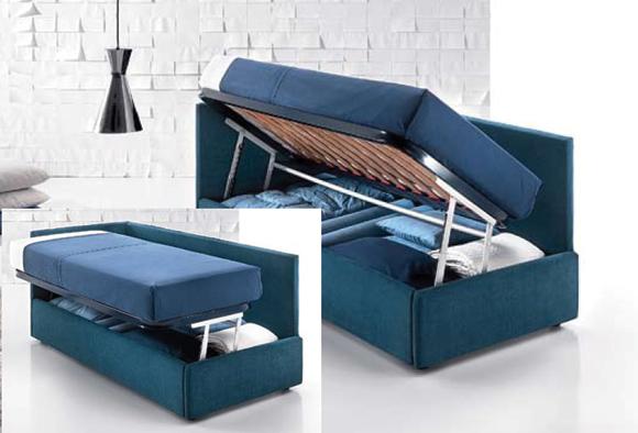 Il letto che contiene: cassetti o contenitore.