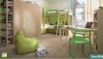 castello verde e legno con letto a ponte