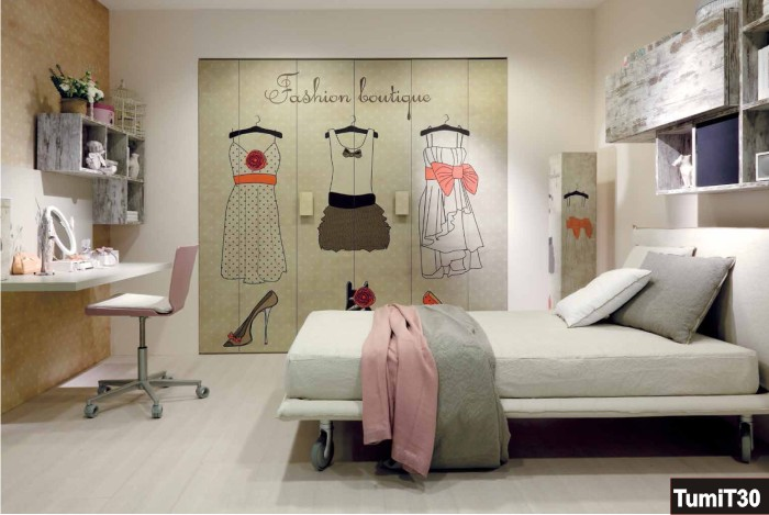 Camera per ragazze con stampa personalizzata sull 39 armadio for Idee cameretta ragazza