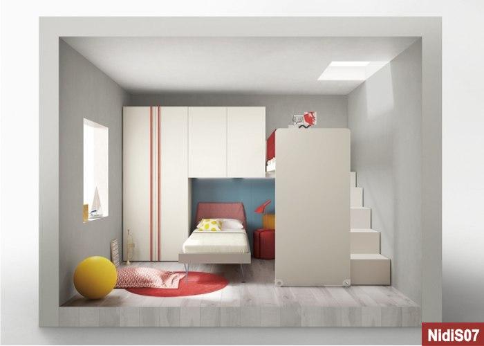 Camera a soppalco ad angolo bianca e rossa