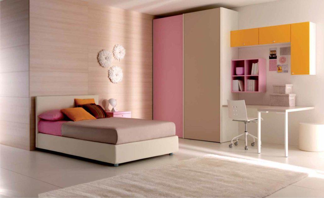 camera rosa piazza e mezza con letto design