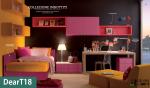 Cameretta moderna singola con letto imbottito e zona studio