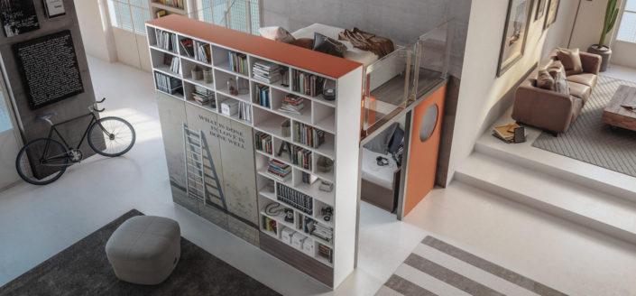 Soppalco con libreria per per ambienti separati