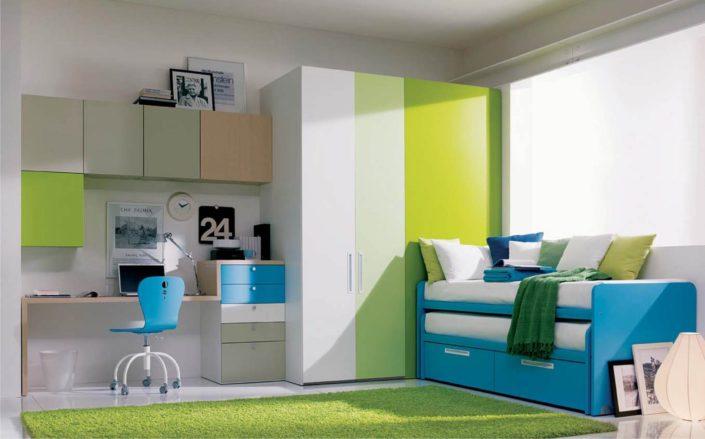 cameretta azzurra e verde