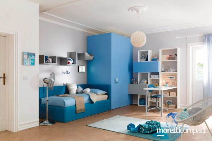blu e azzurro in camera