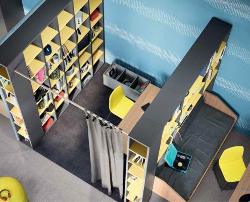 libreria divisoria della cabina
