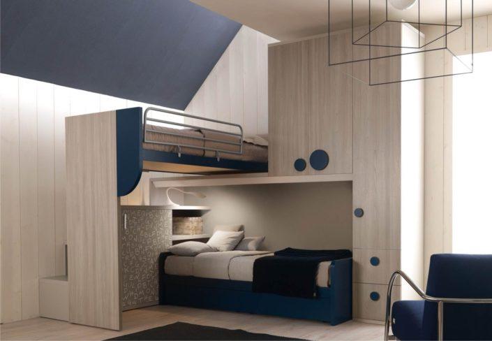camera legno olmo e blu