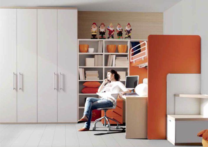 castello scrivania arancione