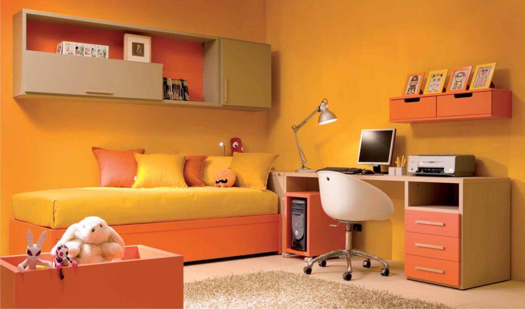 Cameretta Arancione E Gialla : Camerette arancioni per bambini: energia in cameretta