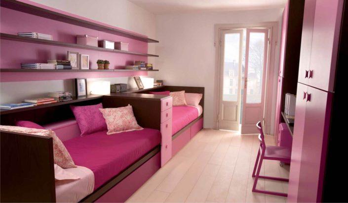 due letti rosa da ragazze