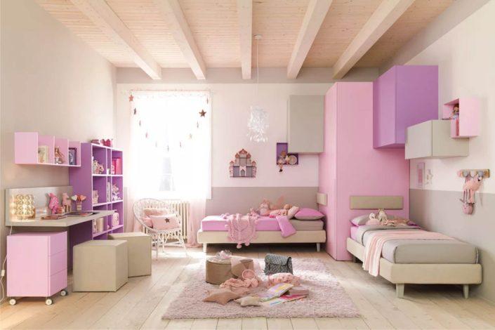 cabina e letti rosa