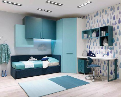 arredo azzurro e blu con lettino divano