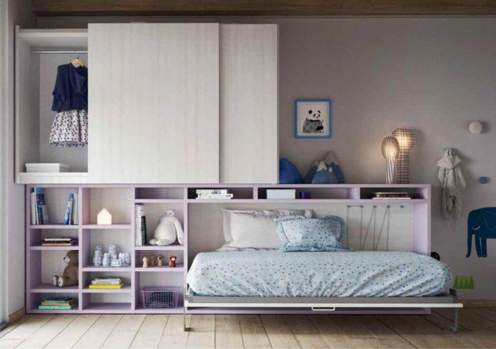 letto singolo a scomparsa e parete armadio di design
