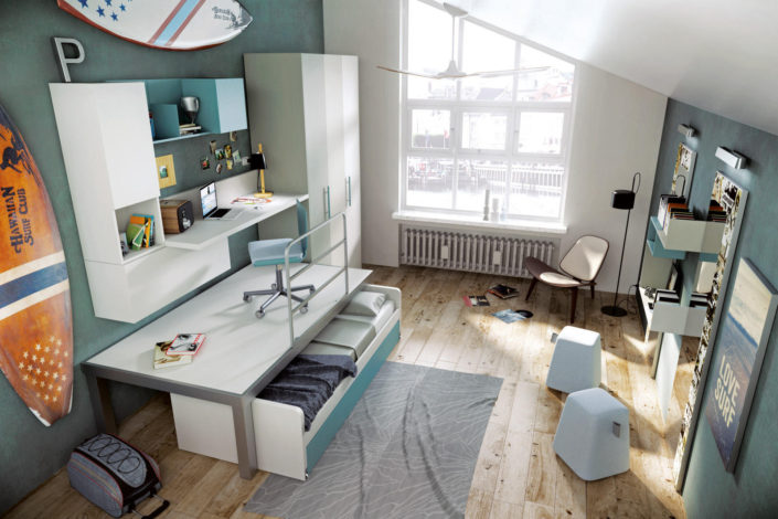 Camera con pedana e letto sotto scorrevole