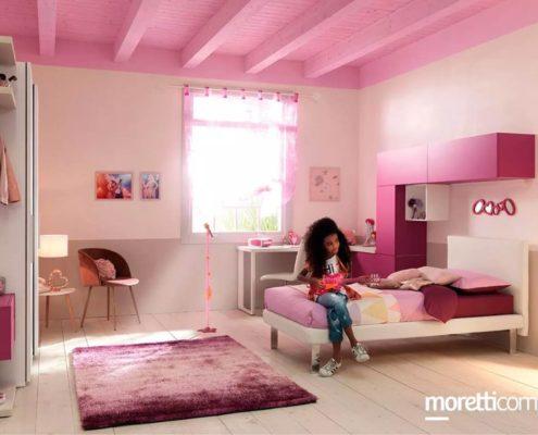 camera moderna rosa da ragazza
