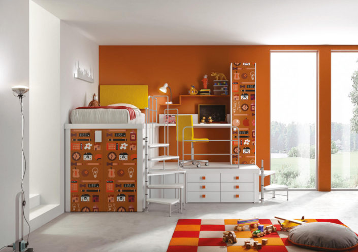 Soppalco arancio con stampa digitale