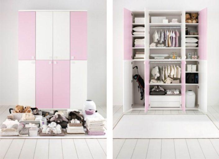 l'armadio dei più piccoli in rosa.