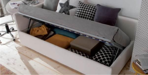 il letto con box contenitore che si apre